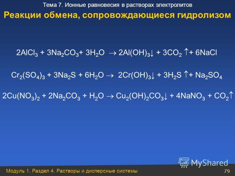 Модуль 1. Раздел 4. Растворы и дисперсные системы 79 Тема 7. Ионные равновесия в растворах электролитов 2AlCl 3 + 3Na 2 CO 3 + 3H 2 O 2Al(OH) 3 + 3CO 2 + 6NaCl Cr 2 (SO 4 ) 3 + 3Na 2 S + 6H 2 O 2Cr(OH) 3 + 3H 2 S + Na 2 SO 4 2Cu(NO 3 ) 2 + 2Na 2 CO 3