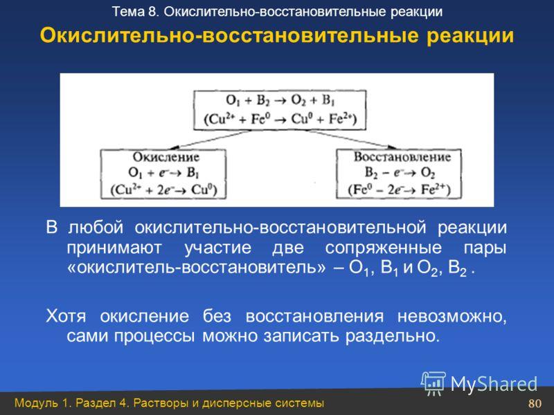 Модуль 1. Раздел 4. Растворы и дисперсные системы 80 Тема 8. Окислительно-восстановительные реакции В любой окислительно-восстановительной реакции принимают участие две сопряженные пары «окислитель-восстановитель» – O 1, В 1 и O 2, В 2. Хотя окислени