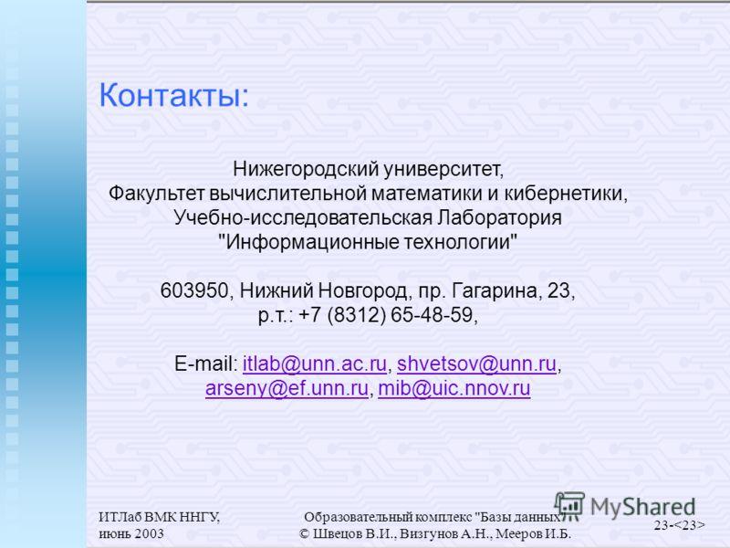 ИТЛаб ВМК ННГУ, июнь 2003 Образовательный комплекс
