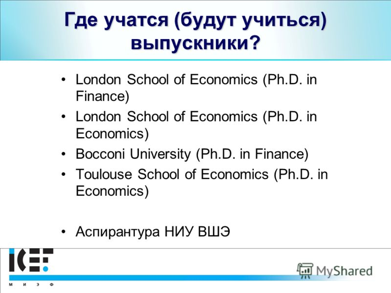 Где учатся (будут учиться) выпускники? London School of Economics (Ph.D. in Finance) London School of Economics (Ph.D. in Economics) Bocconi University (Ph.D. in Finance) Toulouse School of Economics (Ph.D. in Economics) Аспирантура НИУ ВШЭ