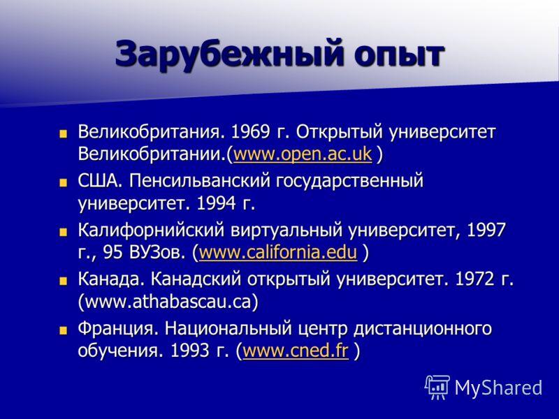 Зарубежный опыт Великобритания. 1969 г. Открытый университет Великобритании.(www.open.ac.uk ) www.open.ac.uk США. Пенсильванский государственный университет. 1994 г. Калифорнийский виртуальный университет, 1997 г., 95 ВУЗов. (www.california.edu ) www