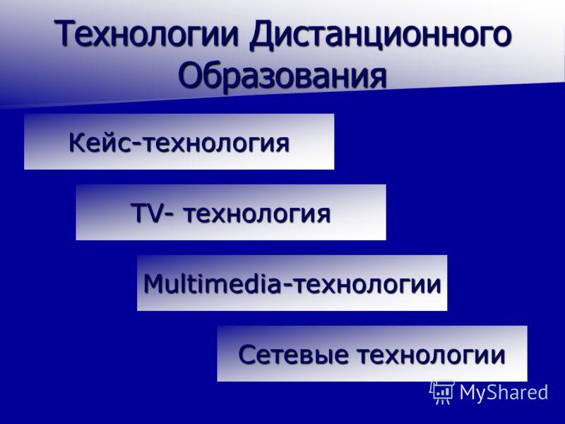 Технологии Дистанционного Образования Кейс-технология Сетевые технологии Сетевые технологии TV- технология TV- технология Multimedia-технологии
