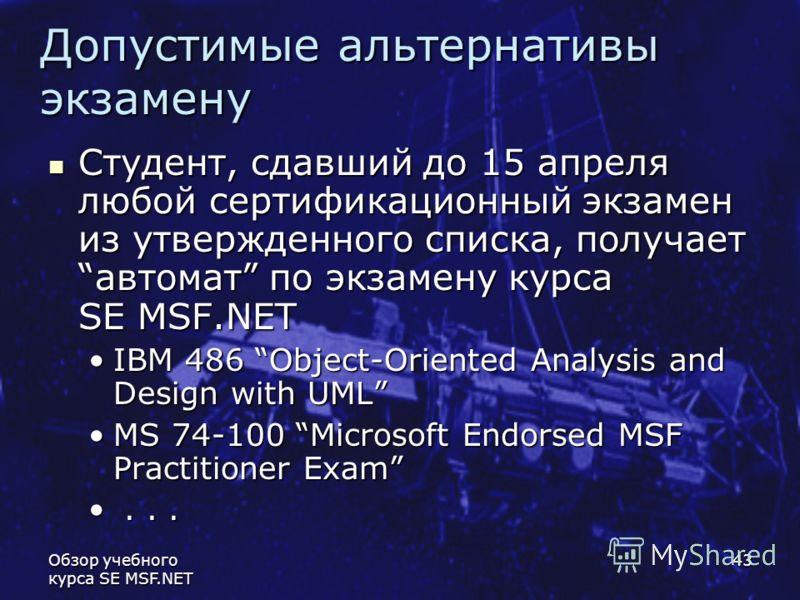 Обзор учебного курса SE MSF.NET 43 Допустимые альтернативы экзамену Студент, сдавший до 15 апреля любой сертификационный экзамен из утвержденного списка, получаетавтомат по экзамену курса SE MSF.NET Студент, сдавший до 15 апреля любой сертификационны