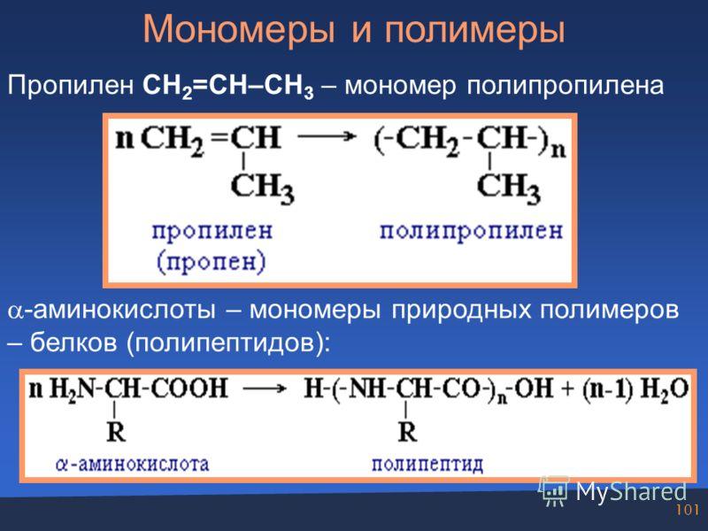 101 Мономеры и полимеры Пропилен СН 2 =СH–CH 3 – мономер полипропилена -аминокислоты – мономеры природных полимеров – белков (полипептидов):