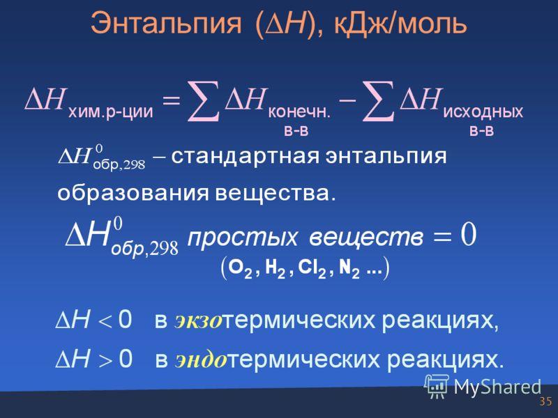 35 Энтальпия ( Н), кДж/моль.