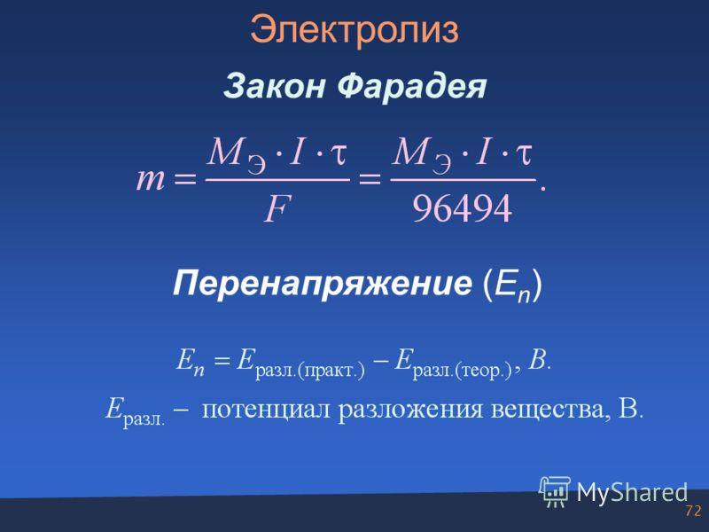 72 Электролиз Закон Фарадея Перенапряжение (E n )