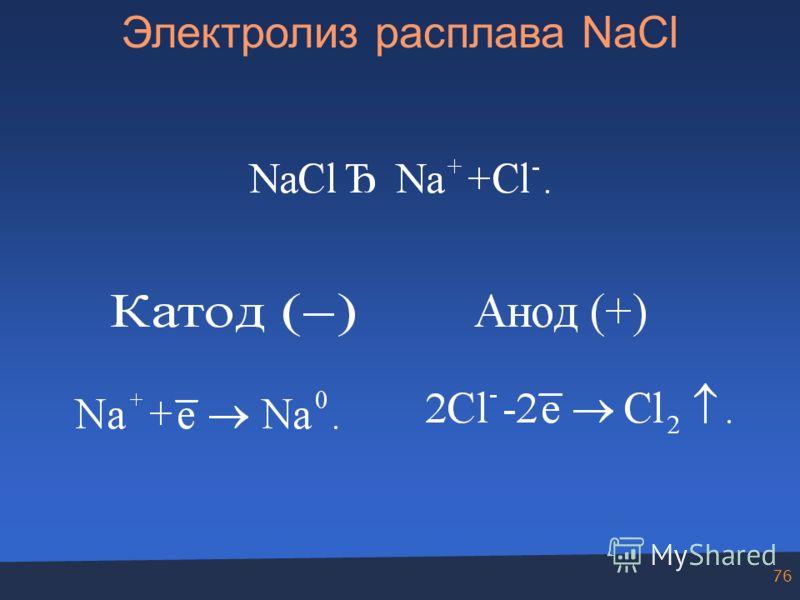 76 Электролиз расплава NaCl