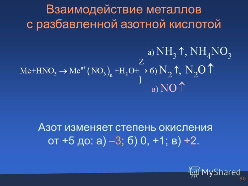 90 Взаимодействие металлов с разбавленной азотной кислотой Азот изменяет степень окисления от +5 до: а) –3; б) 0, +1; в) +2.