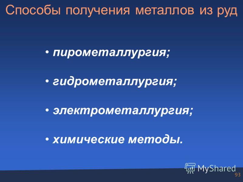 93 Способы получения металлов из руд пирометаллургия; гидрометаллургия; электрометаллургия; химические методы.