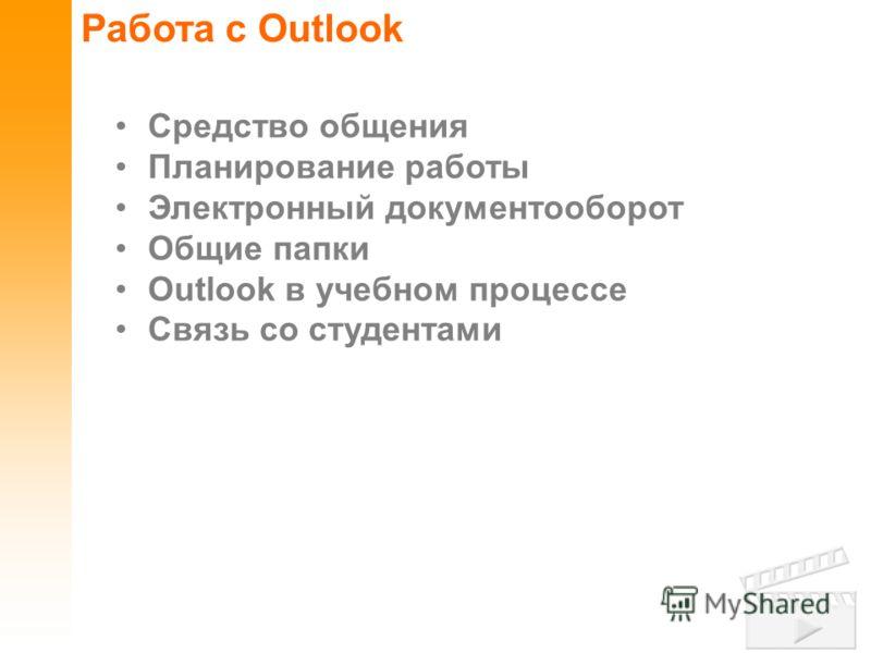 Работа с Outlook Средство общения Планирование работы Электронный документооборот Общие папки Outlook в учебном процессе Связь со студентами