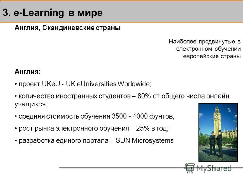 3. e-Learning в мире Англия, Скандинавские страны Наиболее продвинутые в электронном обучении европейские страны Англия: проект UKeU - UK eUniversities Worldwide; количество иностранных студентов – 80% от общего числа онлайн учащихся; средняя стоимос