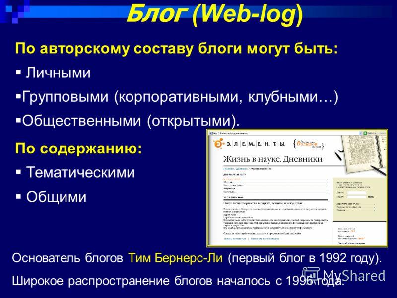 Блог (Web-log) По авторскому составу блоги могут быть: Личными Групповыми (корпоративными, клубными…) Общественными (открытыми). По содержанию: Тематическими Общими Основатель блогов Тим Бернерс-Ли (первый блог в 1992 году). Широкое распространение б