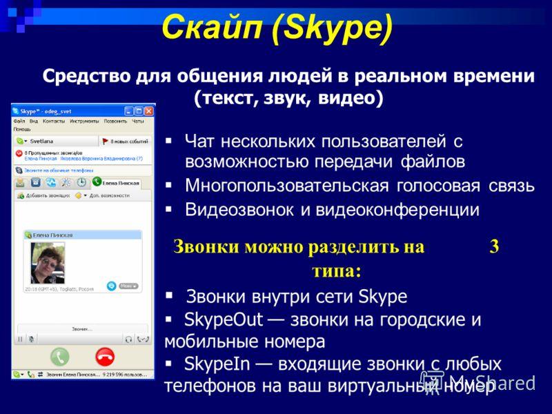 Скайп (Skype) Средство для общения людей в реальном времени (текст, звук, видео) Чат нескольких пользователей с возможностью передачи файлов Многопользовательская голосовая связь Видеозвонок и видеоконференции Звонки можно разделить на 3 типа: Звонки