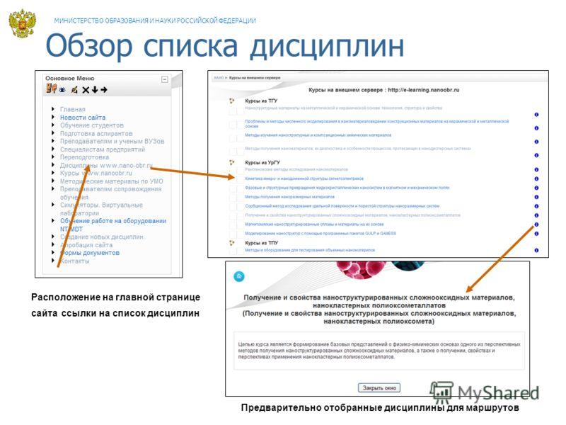 Обзор списка дисциплин Расположение на главной странице сайта ссылки на список дисциплин Предварительно отобранные дисциплины для маршрутов МИНИСТЕРСТВО ОБРАЗОВАНИЯ И НАУКИ РОССИЙСКОЙ ФЕДЕРАЦИИ
