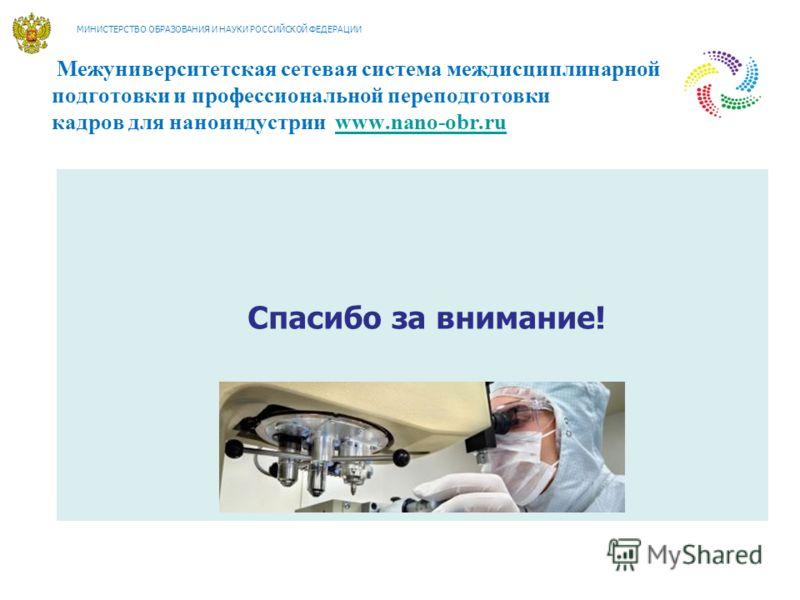 Межуниверситетская сетевая система междисциплинарной подготовки и профессиональной переподготовки кадров для наноиндустрии www.nano-obr.ruwww.nano-obr.ru Спасибо за внимание! МИНИСТЕРСТВО ОБРАЗОВАНИЯ И НАУКИ РОССИЙСКОЙ ФЕДЕРАЦИИ