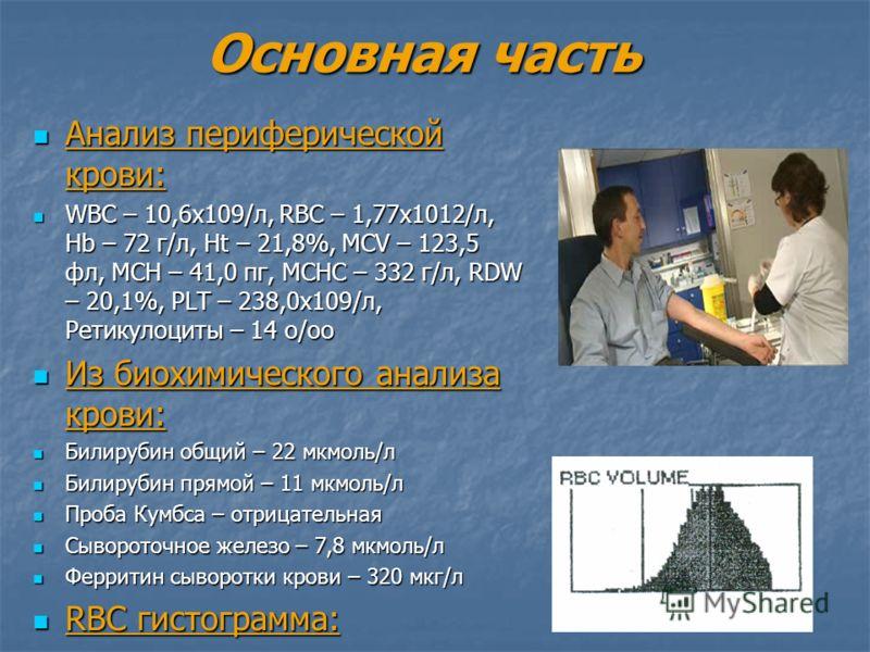 Основная часть Анализ периферической крови: Анализ периферической крови: WBC – 10,6х109/л, RBC – 1,77х1012/л, Hb – 72 г/л, Ht – 21,8%, MCV – 123,5 фл, MCH – 41,0 пг, MCHC – 332 г/л, RDW – 20,1%, PLT – 238,0х109/л, Ретикулоциты – 14 о/оо WBC – 10,6х10