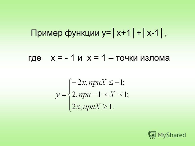 Пример функции y=x+1+x-1, где х = - 1 и х = 1 – точки излома