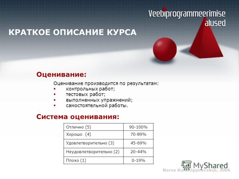 Narva Kutseõppekeskus, 2006 КРАТКОЕ ОПИСАНИЕ КУРСА Оценивание: Оценивание производится по результатам: контрольных работ; тестовых работ; выполненных упражнений; самостоятельной работы. Отлично (5)90-100% Хорошо (4)70-89% Удовлетворительно (3)45-69%