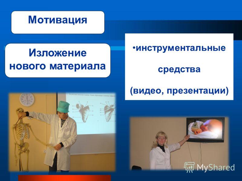 Мотивация инструментальные средства (видео, презентации) Изложение нового материала