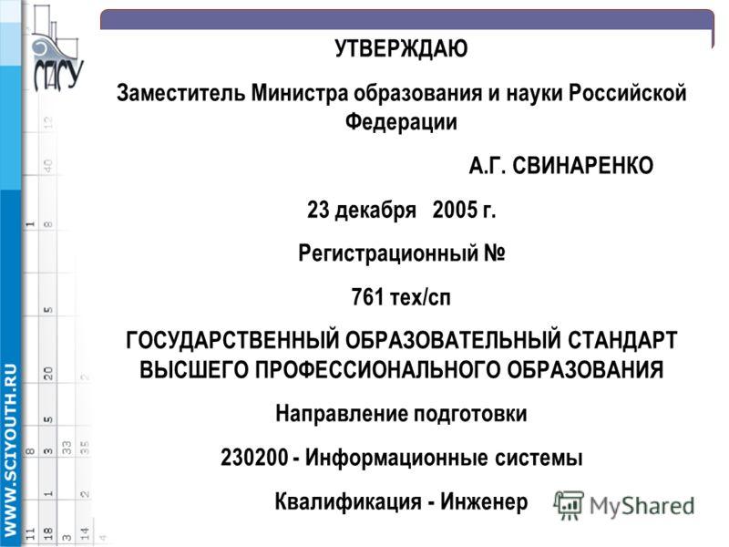 УТВЕРЖДАЮ Заместитель Министра образования и науки Российской Федерации А.Г. СВИНАРЕНКО 23 декабря 2005 г. Регистрационный 761 тех/сп ГОСУДАРСТВЕННЫЙ ОБРАЗОВАТЕЛЬНЫЙ СТАНДАРТ ВЫСШЕГО ПРОФЕССИОНАЛЬНОГО ОБРАЗОВАНИЯ Направление подготовки 230200 - Инфор
