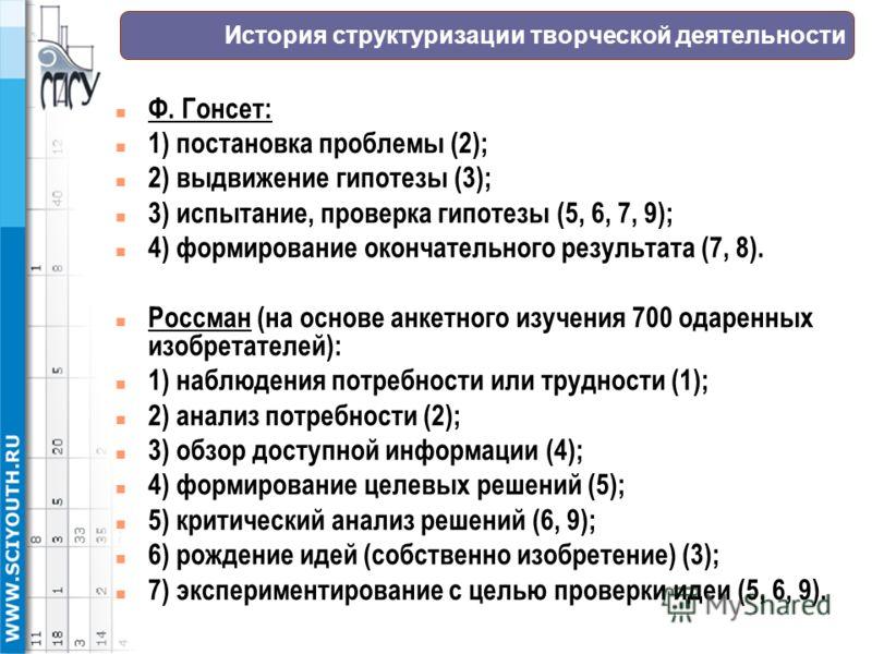 История структуризации творческой деятельности n Ф. Гонсет: n 1) постановка проблемы (2); n 2) выдвижение гипотезы (3); n 3) испытание, проверка гипотезы (5, 6, 7, 9); n 4) формирование окончательного результата (7, 8). n Россман (на основе анкетного