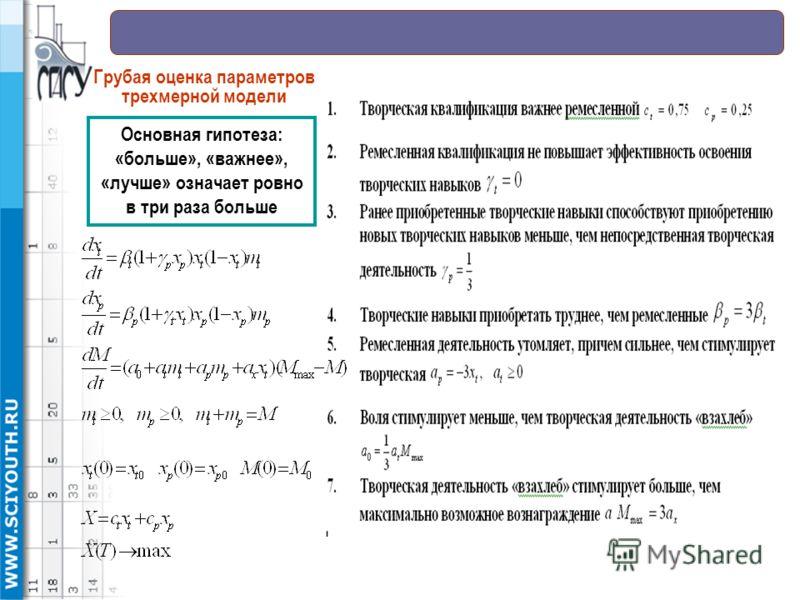 Основная гипотеза: «больше», «важнее», «лучше» означает ровно в три раза больше Грубая оценка параметров трехмерной модели