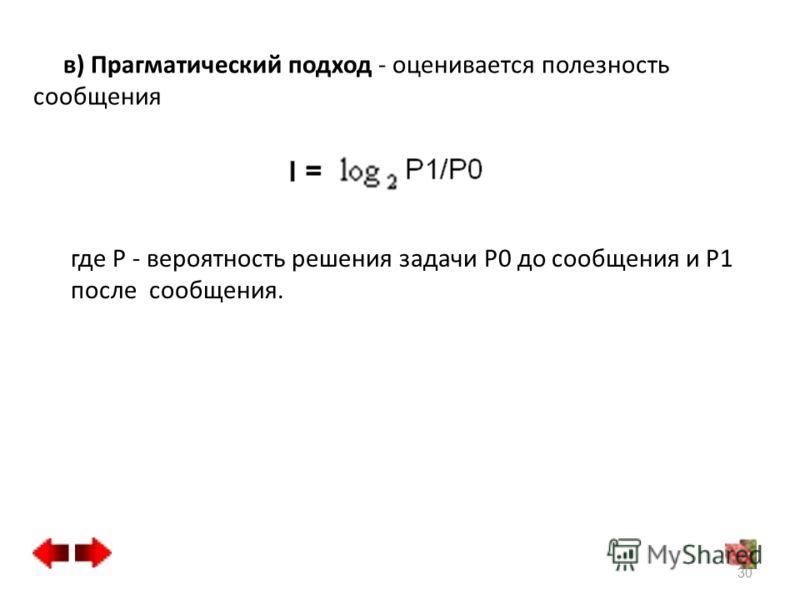 в) Прагматический подход - оценивается полезность сообщения где P - вероятность решения задачи P0 до сообщения и P1 после сообщения. 30