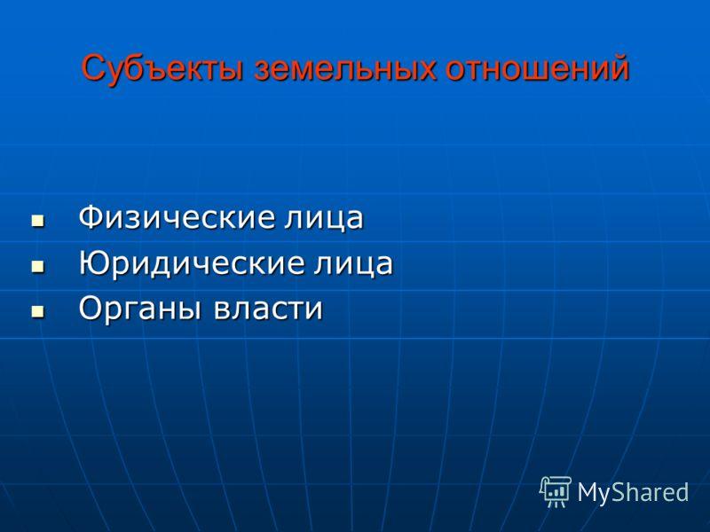 Субъекты земельных отношений Физические лица Физические лица Юридические лица Юридические лица Органы власти Органы власти