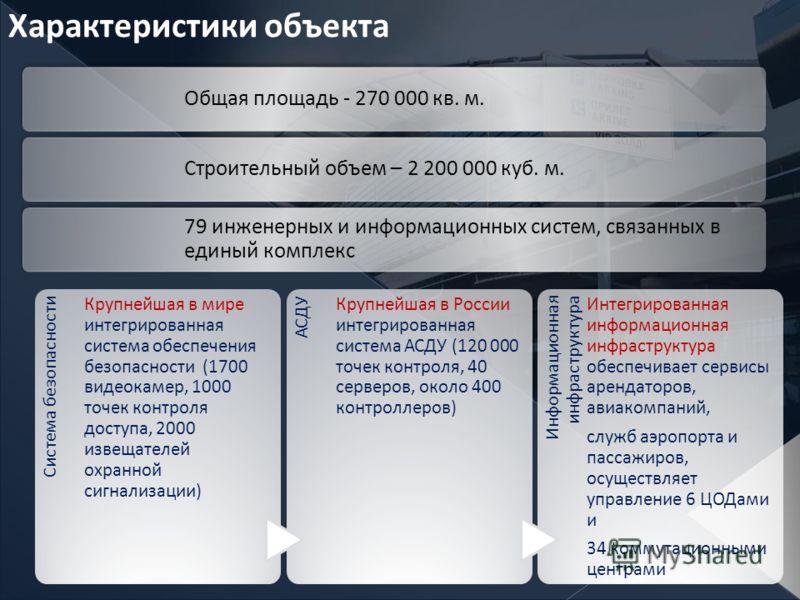 Характеристики объекта Общая площадь - 270 000 кв. м. Строительный объем – 2 200 000 куб. м. 79 инженерных и информационных систем, связанных в единый комплекс АСДУ Крупнейшая в России интегрированная система АСДУ (120 000 точек контроля, 40 серверов