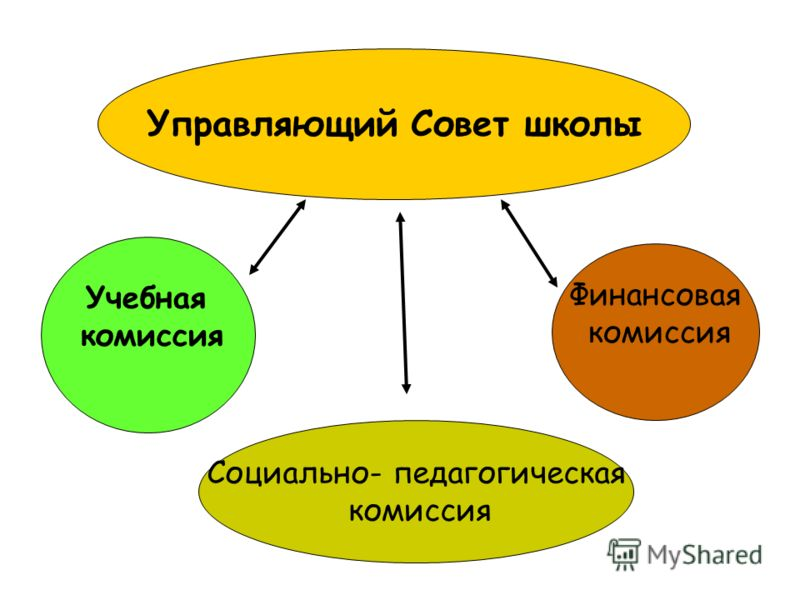 Управляющий Совет школы Социально- педагогическая комиссия Финансовая комиссия Учебная комиссия