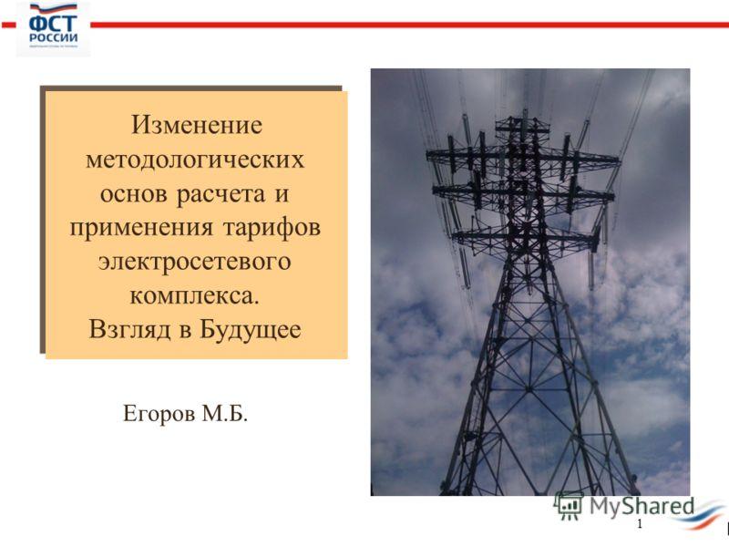 Изменение методологических основ расчета и применения тарифов электросетевого комплекса. Взгляд в Будущее Егоров М.Б. 1