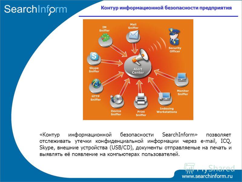 Контур информационной безопасности предприятия www.searchinform.ru «Контур информационной безопасности SearchInform» позволяет отслеживать утечки конфиденциальной информации через е-mail, ICQ, Skype, внешние устройства (USB/CD), документы отправляемы