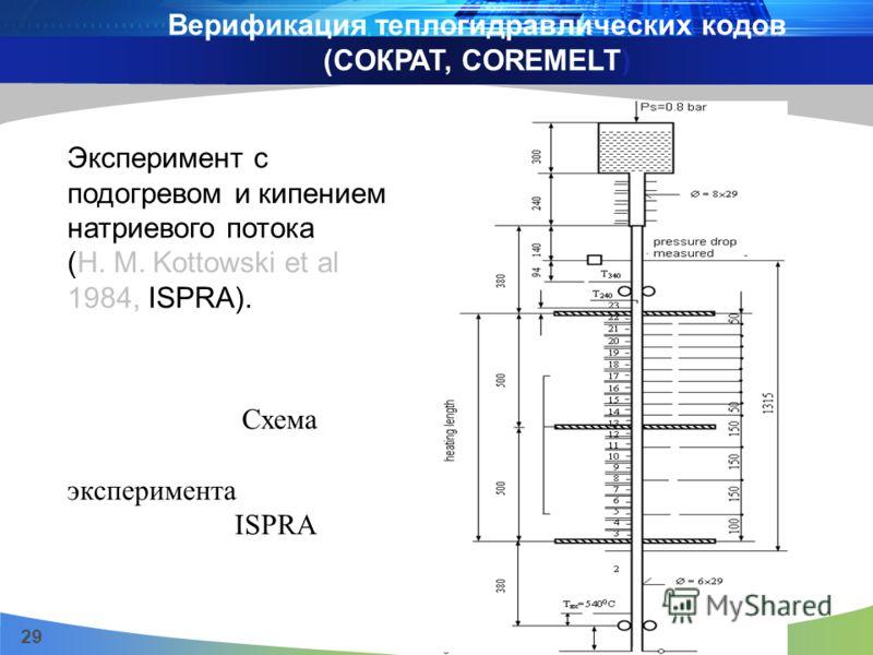 29 Эксперимент с подогревом и кипением натриевого потока (H. M. Kottowski et al 1984, ISPRA). Схема эксперимента ISPRA Верификация теплогидравлических кодов (CОКРАТ, COREMELT)