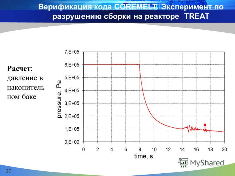 37 Расчет: давление в накопитель ном баке Верификация кода COREMELT. Эксперимент по разрушению сборки на реакторе TREAT