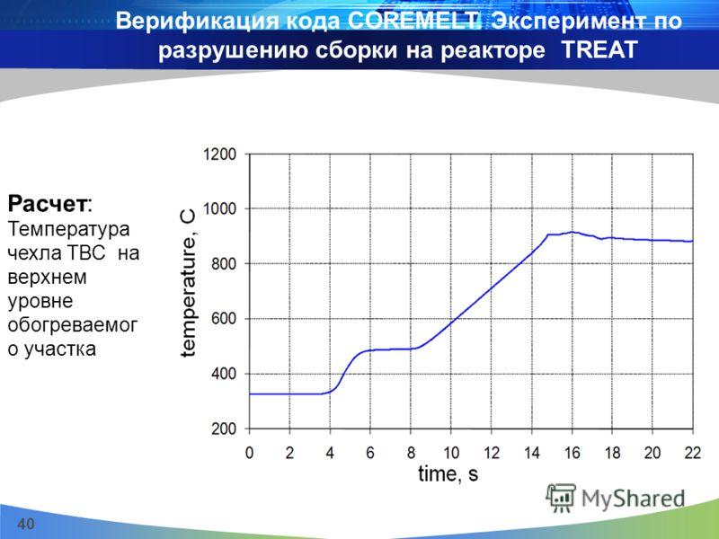 40 Расчет: Температура чехла ТВС на верхнем уровне обогреваемог о участка Верификация кода COREMELT. Эксперимент по разрушению сборки на реакторе TREAT