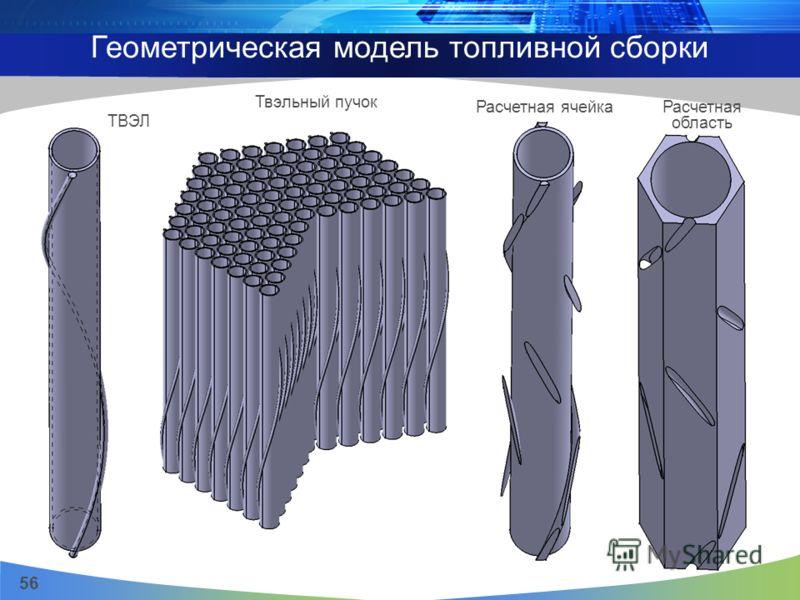 56 Твэльный пучок Расчетная ячейка Расчетная область ТВЭЛ Геометрическая модель топливной сборки