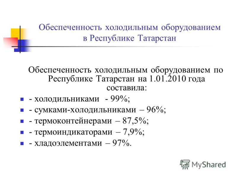 Обеспеченность холодильным оборудованием в Республике Татарстан Обеспеченность холодильным оборудованием по Республике Татарстан на 1.01.2010 года составила: - холодильниками - 99%; - сумками-холодильниками – 96%; - термоконтейнерами – 87,5%; - термо