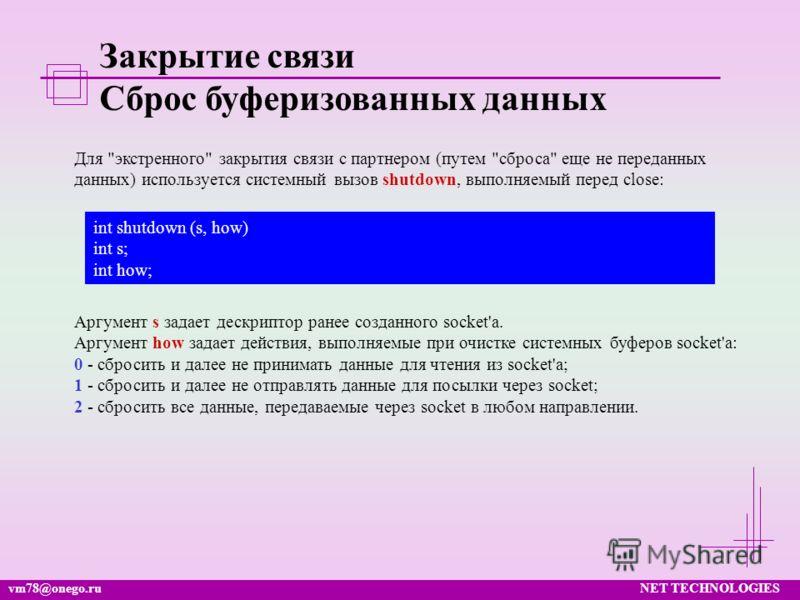 vm78@onego.ruNET TECHNOLOGIES Закрытие связи Сброс буферизованных данных Для