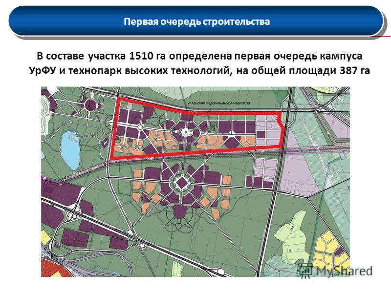 Первая очередь строительства В составе участка 1510 га определена первая очередь кампуса УрФУ и технопарк высоких технологий, на общей площади 387 га