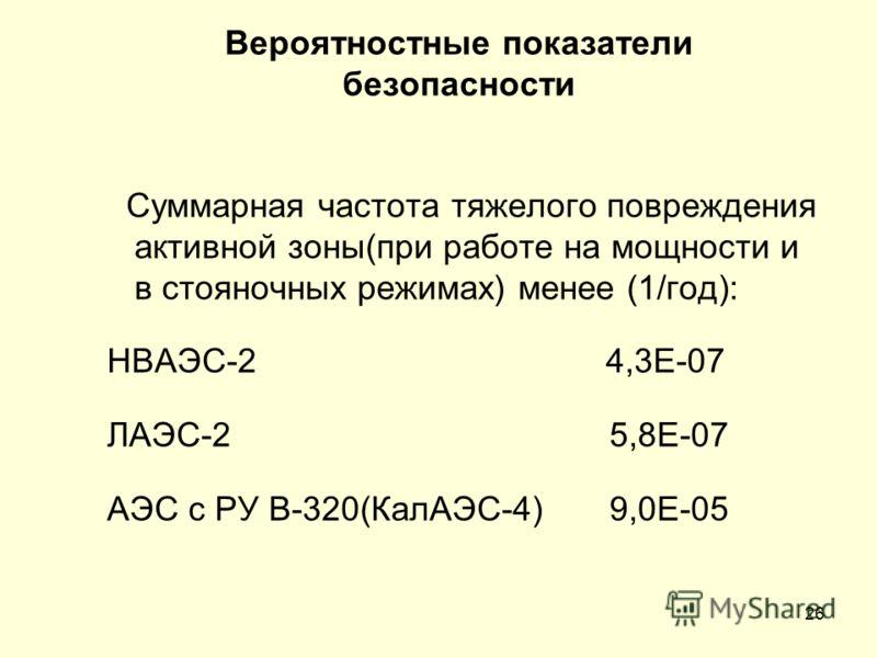 26 Вероятностные показатели безопасности Суммарная частота тяжелого повреждения активной зоны(при работе на мощности и в стояночных режимах) менее (1/год): НВАЭС-2 4,3Е-07 ЛАЭС-2 5,8Е-07 АЭС с РУ В-320(КалАЭС-4) 9,0Е-05