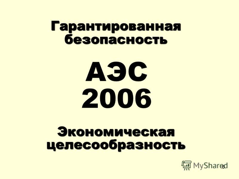 6 АЭС 2006 Гарантированная безопасность Экономическая целесообразность