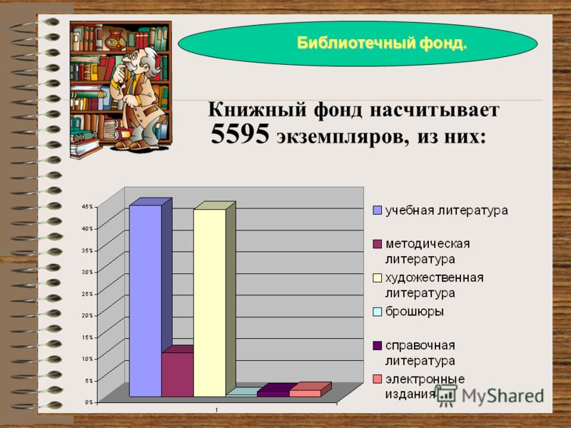 Книжный фонд насчитывает 5595 экземпляров, из них: Библиотечный фонд.