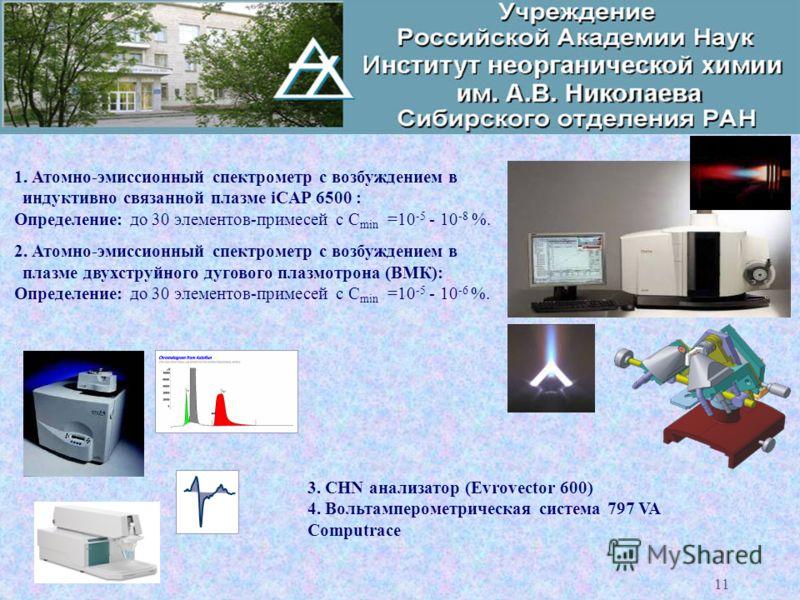 _КАФЕДРА АНАЛИТИЧЕСКОЙ ХИМИИ_ 11 1. Атомно-эмиссионный спектрометр с возбуждением в индуктивно связанной плазме iCAP 6500 : Определение: до 30 элементов-примесей с С min =10 -5 - 10 -8 %. 2. Атомно-эмиссионный спектрометр с возбуждением в плазме двух