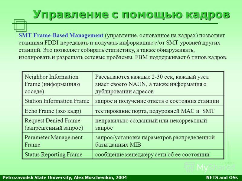 Petrozavodsk State University, Alex Moschevikin, 2004NETS and OSs Управление с помощью кадров SMT Frame-Based Management (управление, основанное на кадрах) позволяет станциям FDDI передавать и получать информацию с/от SMT уровней других станций. Это