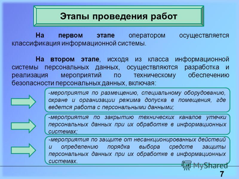 7 Этапы проведения работ На первом этапе оператором осуществляется классификация информационной системы. На втором этапе, исходя из класса информационной системы персональных данных, осуществляются разработка и реализация мероприятий по техническому