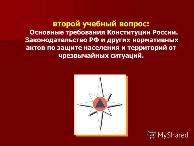 второй учебный вопрос: Основные требования Конституции России. Законодательство РФ и других нормативных актов по защите населения и территорий от чрезвычайных ситуаций.