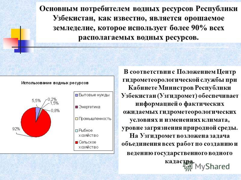 Основным потребителем водных ресурсов Республики Узбекистан, как известно, является орошаемое земледелие, которое использует более 90% всех располагаемых водных ресурсов. В соответствии с Положением Центр гидрометеорологической службы при Кабинете Ми