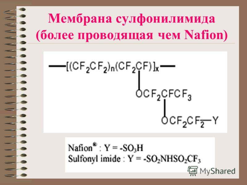 Мембрана сулфонилимида (более проводящая чем Nafion)