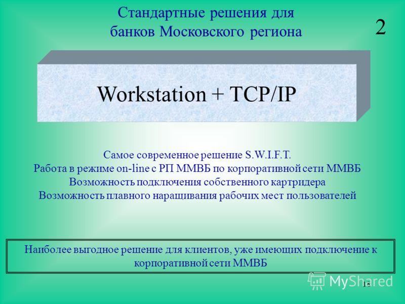 18 Стандартные решения для банков Московского региона Workstation + TCP/IP Самое современное решение S.W.I.F.T. Работа в режиме on-line с РП ММВБ по корпоративной сети ММВБ Возможность подключения собственного картридера Возможность плавного наращива