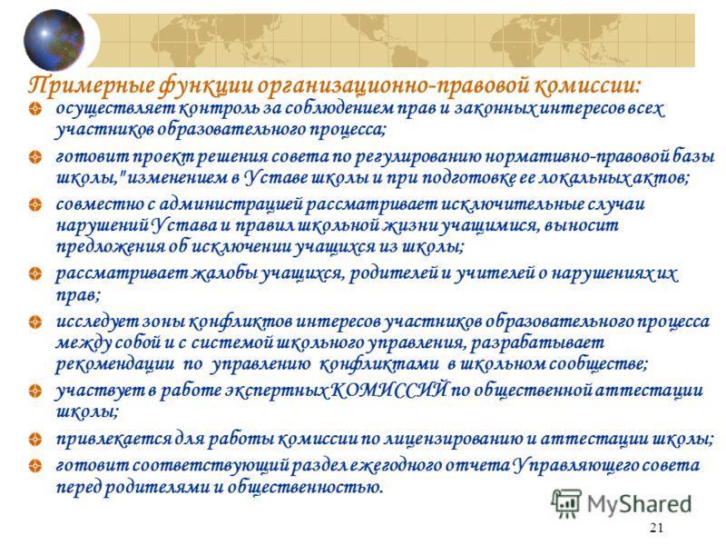 21 Примерные функции организационно-правовой комиссии: осуществляет контроль за соблюдением прав и законных интересов всех участников образовательного процесса; готовит проект решения совета по регулированию нормативно-правовой базы школы,